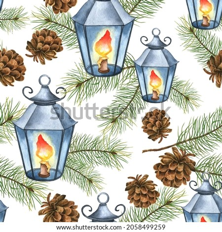 Seamless pattern with watercolor cones, Christmas tree branches and lights. Hand drawn elements for greeting cards isolated on a white background.
