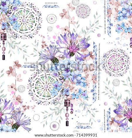 seamless pattern with watercolor flowers and textured ornaments - mandala. Abstract floral background. Tile with meadow wild flower and Geometric illustration. Cornflowers, me-nots