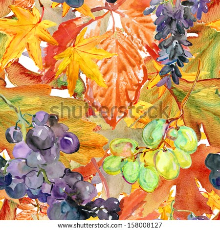 Seamless pattern with watercolor illustration of grapes with leaves