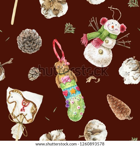 Seamless pattern with watercolor illustrations: snowman toy, teddy bear, gingerbread horse cookie, cones and cotton balls. Cute texture for winter, New Year and Christmas decorations