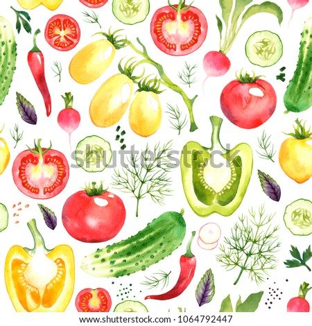 Seamless pattern with watercolor vegetables on white background #1064792447