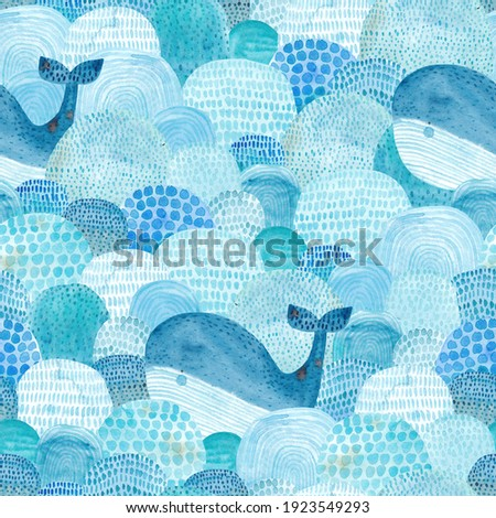 Seamless pattern with waves and whale. Childish texture for fabric, textile in blue colors. Hand drawn background. Watercolor seamless pattern.