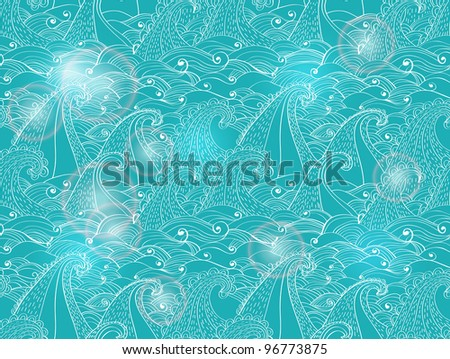 seamless pattern with waves, blue illustration