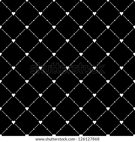 Seamless pattern with white heart symbol on black background. Template size square format. This image is a bitmap copy my vector illustration