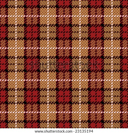 """Seamless pixel plaid pattern in red and golds. 12"""" repeat."""