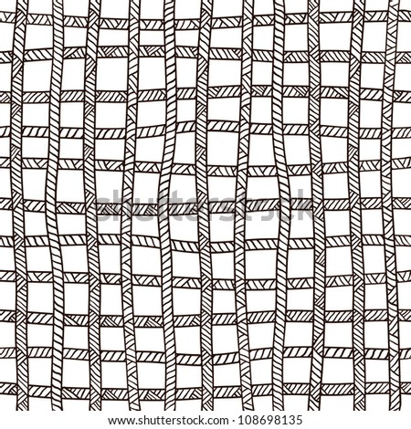 Seamless plaid rope pattern. Black and white
