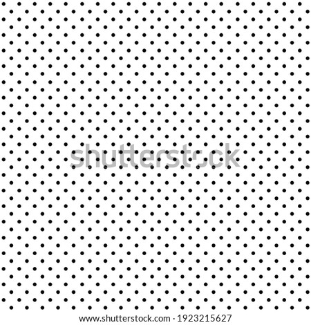 Seamless polka dots pattern of black small dots on white background.