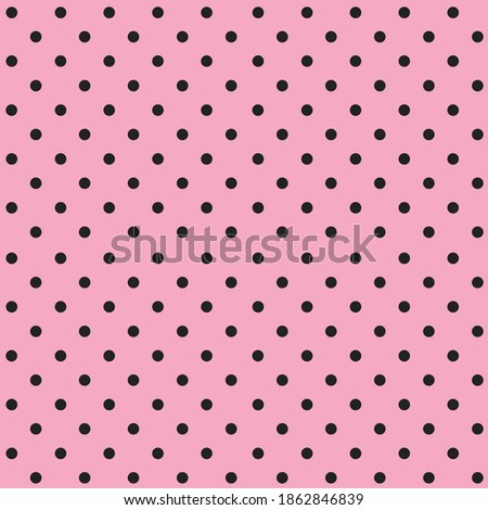 Seamless polka dots pattern of small black dots on a pink background.