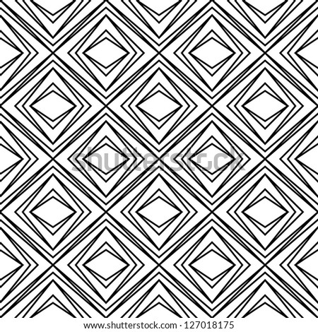 Seamless raster geometric rhombus pattern black and white