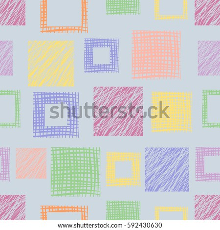 Seamless raster geometrical pattern with squares. Blue endless background with hand drawn textured geometric figures. Graphic illustration Template for wrapping, web backgrounds, wallpaper