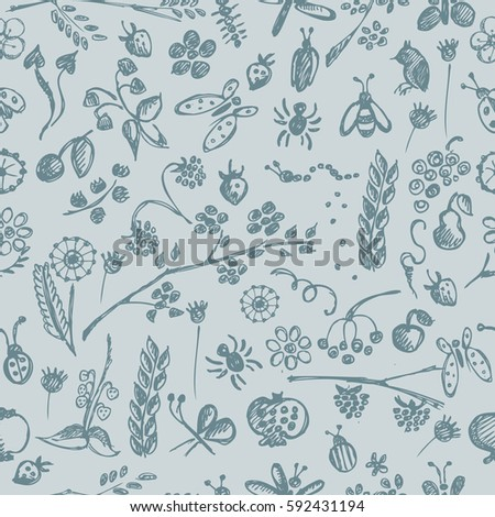 Seamless raster pattern, background with hand drawn cute insects, animals, fruits, flowers, leaves, decorative elements Hand sketch line drawing. doodle style Series of Hand Drawn seamless Patterns.