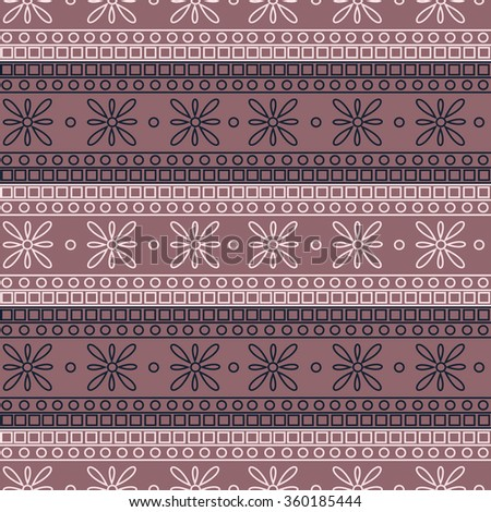 Seamless raster pattern. Symmetrical geometric background with colorful squares and flowers on the pink backdrop. Decorative ornament.