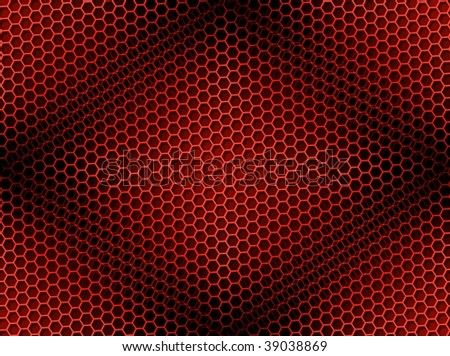 Seamless red honeycomb on brown background with light effect.