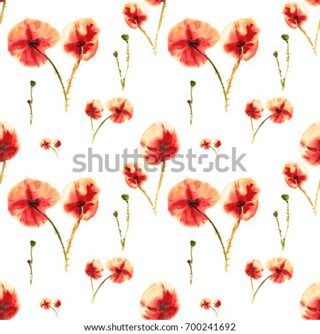 Seamless red orange poppies watercolor painting poppy flower seamless red orange poppies watercolor painting poppy flower background painted drawings greeting mightylinksfo