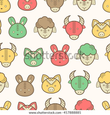 Seamless regular pattern with farm animals snouts (lamb, cow, pig, rabbit) in cute childish style. Happy and babyish color palette