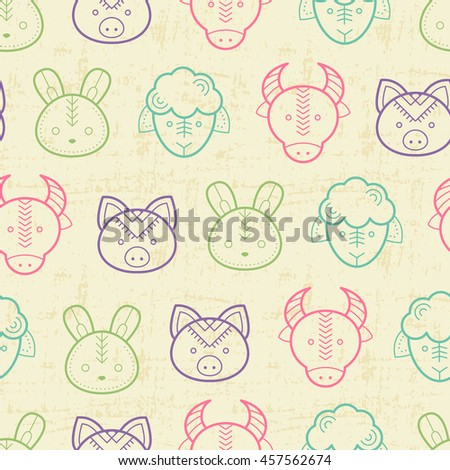 Seamless regular pattern with outlined farm animals (lamb, cow, pig, rabbit) in cute childish style. Happy and babyish color palette