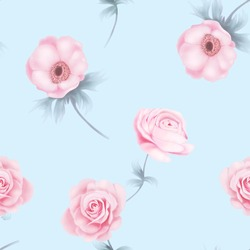 Seamless Repeat Pattern Pink Flower with Pollen, Green Branch and Leave on Light Blue Background Illustration Graphic Design for Wrapping paper