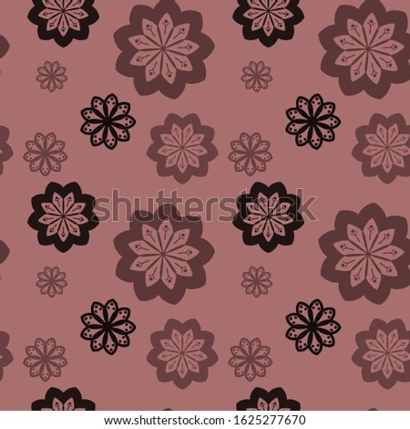 Seamless repeat pattern with black, brown and light brown flowers in   on beige background. drawn fabric, gift wrap, wall art design, wrapping paper, background, fabric print, web page backdrop.