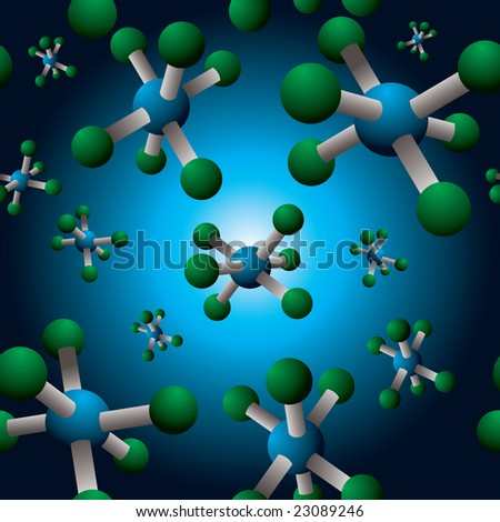 Seamless repeating molecule design in green and blue