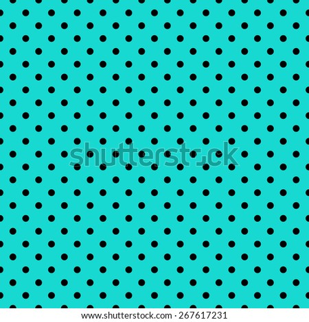Seamless repeating polka dot spotty pattern with black spots on a turquoise blue background.
