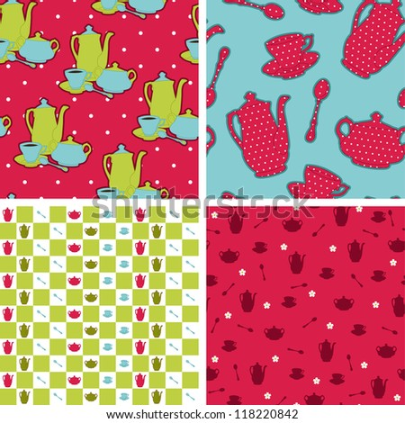 Seamless retro design wallpapers pattern. Tea time