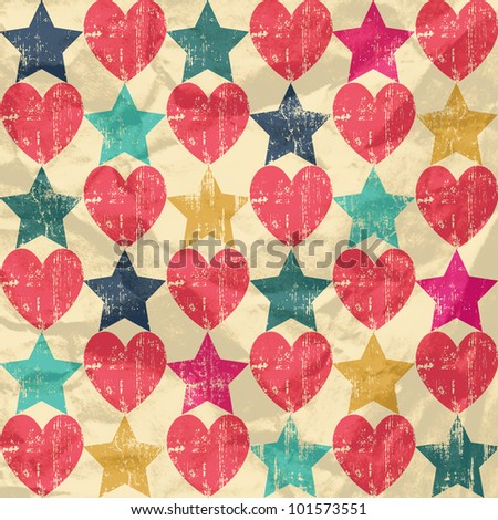 Seamless retro pattern. Texture with hearts and stars. On crumpled paper background.
