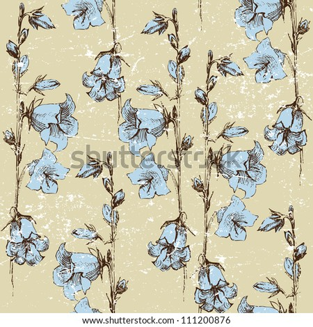 seamless retro-styled background with bluebells