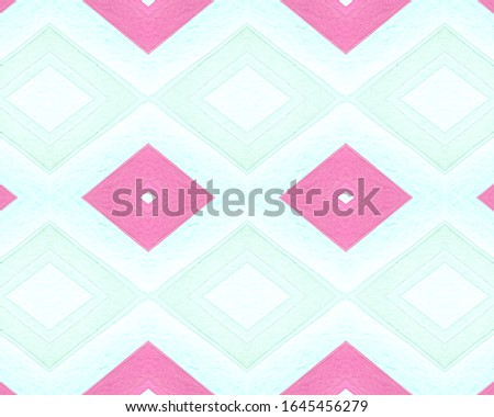 Seamless Rhombus Pattern. Watercolour Aztec Background. Abstract Geometric Textile. Pink American Tribal Tile. Pastel Rhombus Pattern. Drawn by Hand Stripes. Aztec Ornament. Rhombus Pattern.