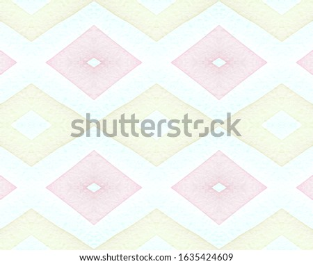 Seamless Rhombus Pattern. Watercolour Diamond Background. Grunge Bohemian Textile. Blue Mexican Ethnic Tile. Pink Rhombus Pattern. Drawn in Bold Stripes. Aztec Background. Rhombus Pattern.