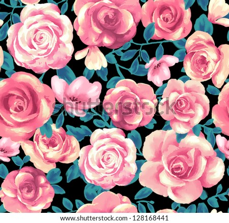 seamless rose pattern, floral background, watercolor,watercolor roses flowers,dress pattern