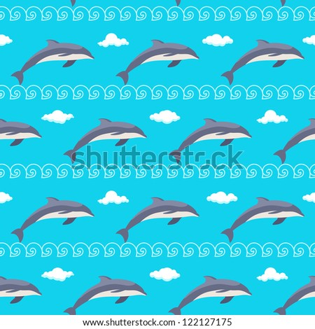 Seamless sea pattern with dolphins, waves and clouds
