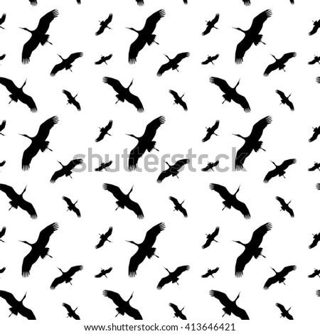 Seamless Silhouette Flying Birds Seamless Background Soars Stork