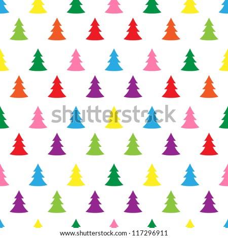 Seamless simple cute christmas tree illustration pattern - RASTER VERSION