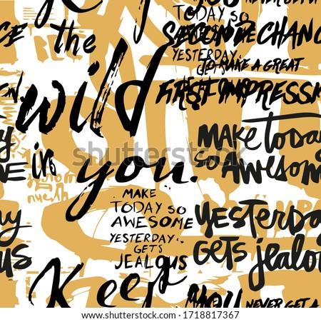 Seamless slogans pattern, hand writing, colorful brush pattern Foto stock ©