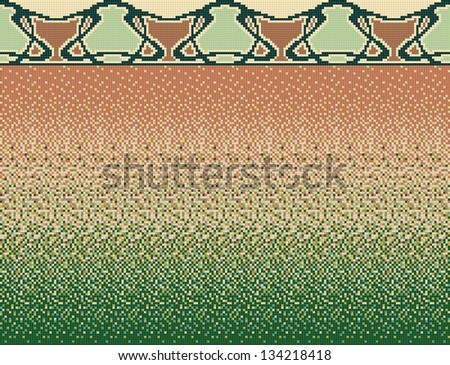 Seamless smooth transition of color mosaic from brown to green and decor in mosaic. Modern. Similar images in my portfolio.