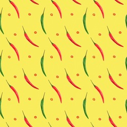 Seamless spice pattern with red and green chili pepper pods diagonally, slices of cut red pepper on yellow background. Aspect ratio 1:1. Healthy eating concept