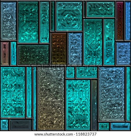 Seamless square blue textured stained glass panel