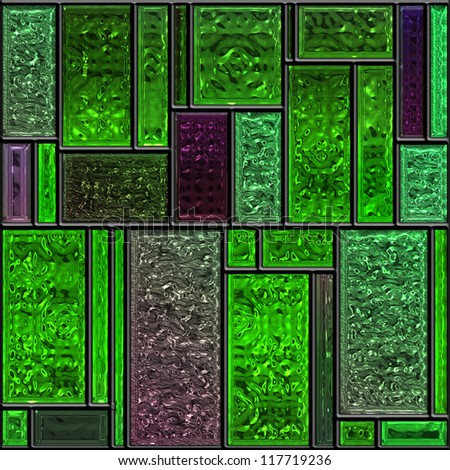 Seamless square green textured stained glass panel