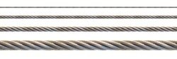 Seamless steel cable set for continuous elongation (isolated on white background).