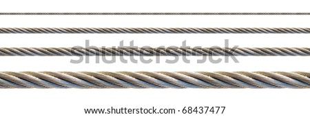 Seamless steel cable set for continuous elongation (isolated on white background). Foto d'archivio ©