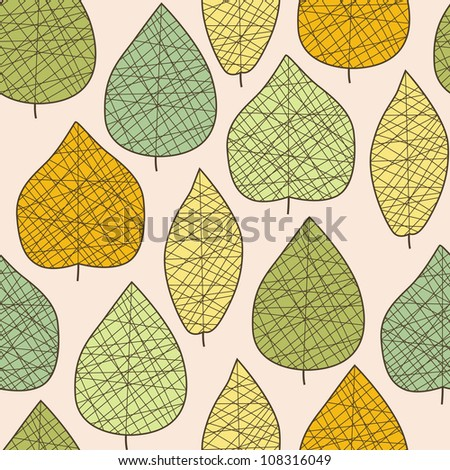 Seamless stylish autumn leaf pattern