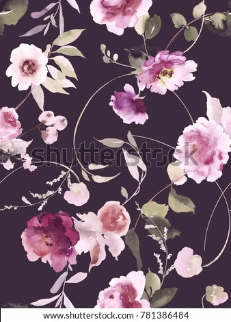 Seamless summer pattern with watercolor flowers handmade. Dark background