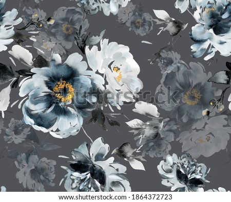 Seamless summer pattern with watercolor flowers handmade in indigo