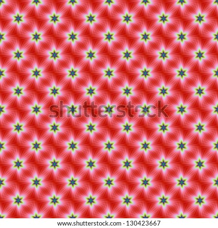 Seamless Supernova on Red / Digital abstract image with a seamless supernova design in red, white, yellow, blue and green.