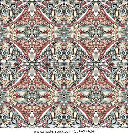 Seamless symmetrical hand drawn pattern