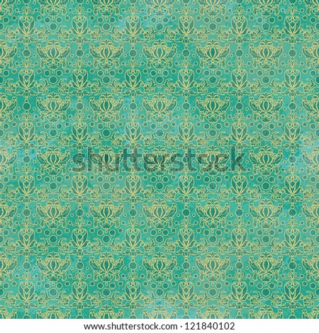 Seamless Teal Damask Pattern