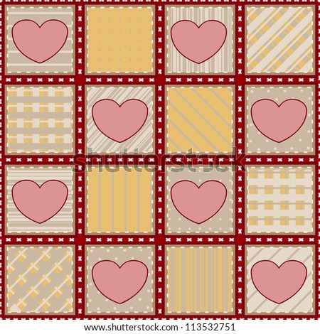 Seamless textile background with simple pink hearts