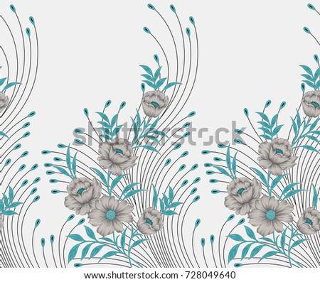 Shutterstock Seamless textile floral border