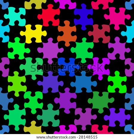 Seamless Texture Of Colorful Puzzle Wallpaper