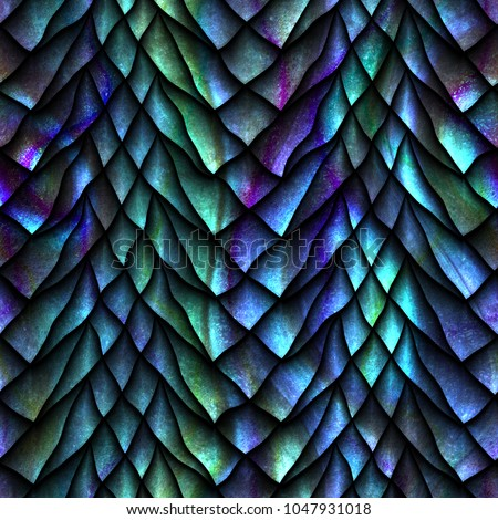 Seamless texture of dragon scales, reptile skin, 3d illustration
